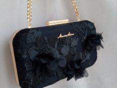 'Black Flower' alkalmi táska
