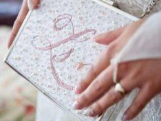 Hímzett menyasszonyi clutch
